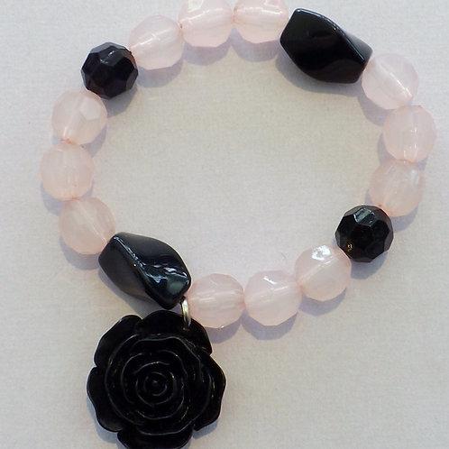Pink & black acrylic bead stretch bracelet