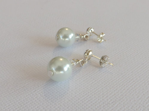 Silver stud dangle earring with 10mm glass pearl