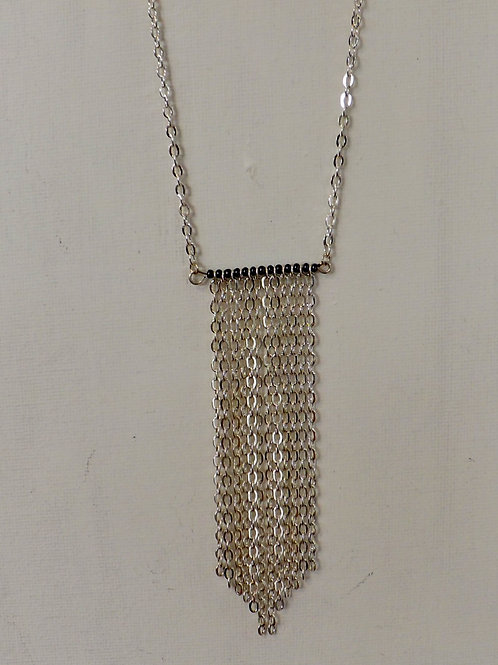 Long style chain necklace with chain & crystal