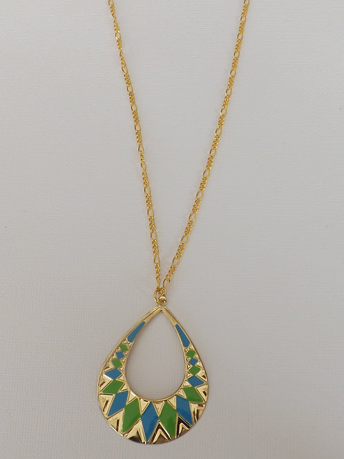 "Gold figaro 36"" chain with green blue charm"