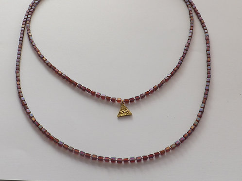 Pink rainbow square beads beaded necklace