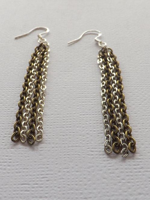 Two color chain hook dangle earrings