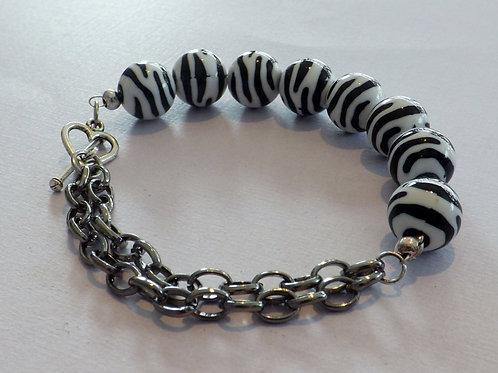 Zebra bead bracelet with black chain