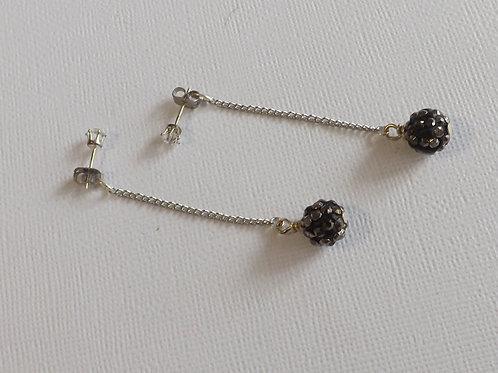 CZ stud earring with single chain backdrop w/bead