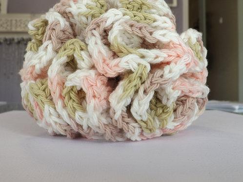 100 % cotton crocheted spa bath pouf