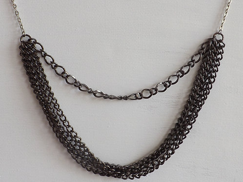 Silver and black chain necklace