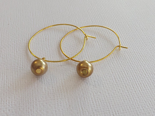 Gold hoop with a 6mm glass pearl drop