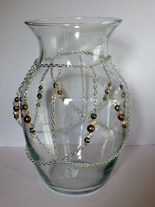 Chain trimmed clear glass vase