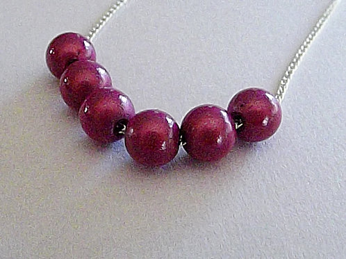Fine silver chain necklace with 6 miracle bead