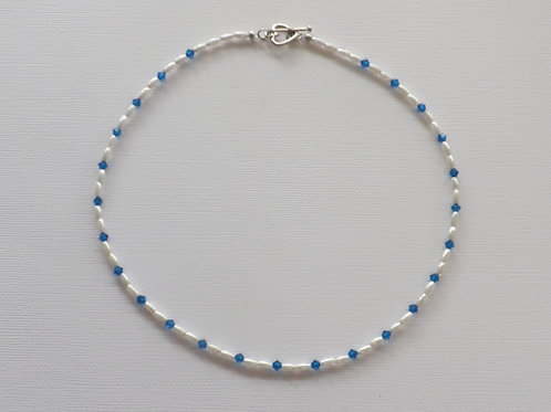Pearl & blue crystal bicone necklace