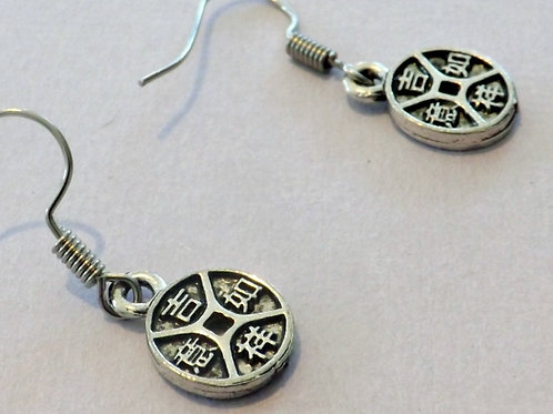 Silver Chinese charm hook earring