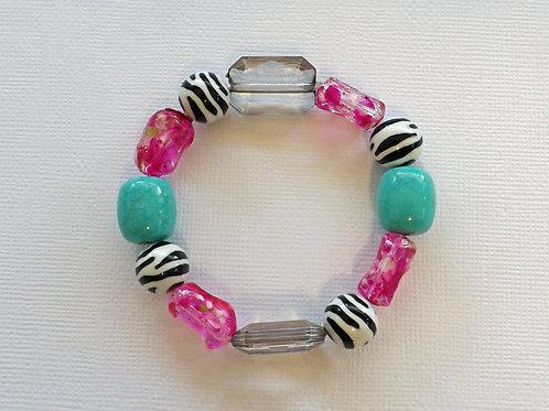Bright pink, turquoise & zebra stretch bracelet