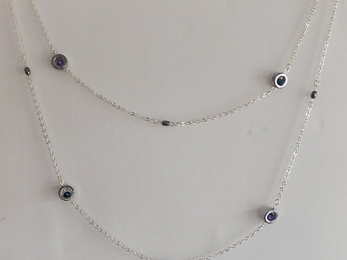 2 strand chain necklace w/hematite & purple beads