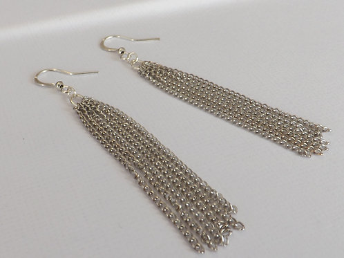 Silver hook earrings with 6 strand chain dangles