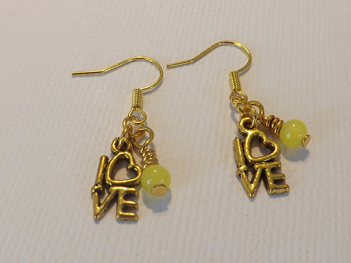 Gold hook earring with charm & bead drop