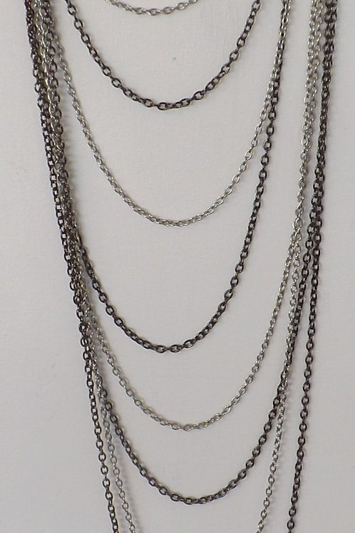 Black metal and silver 8 strand 8 length necklace