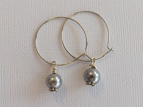 Silver hoop with a 8mm glass pearl drop