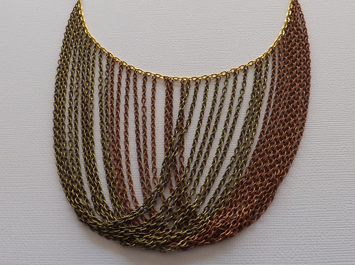 Gold chain with Ant. Brnz & Ant. Copper chain bib