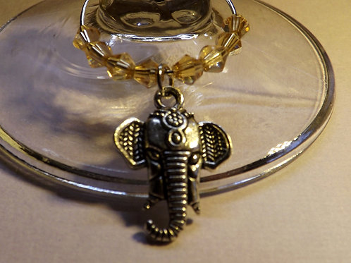 Silver elephant w/crystals wine glass charms