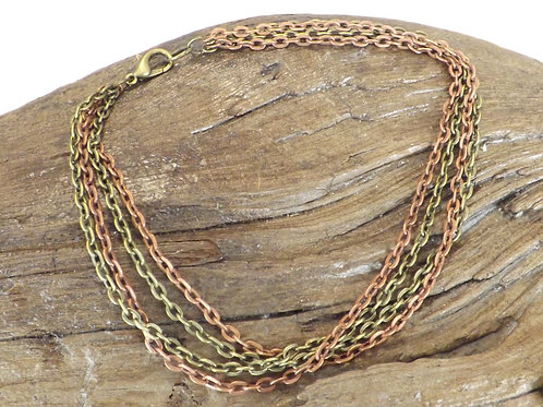 Four strand chain anklet two color chain