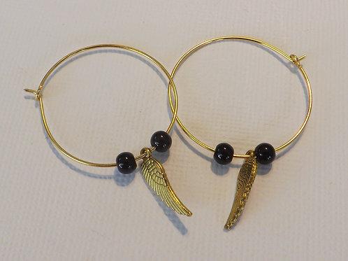 Gold hoop earrings with Angel wing