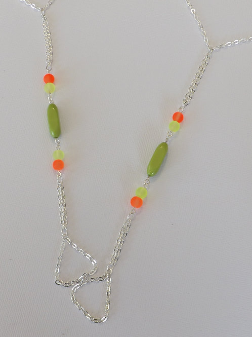 Yellow, green & orange with silver barefoot sandal