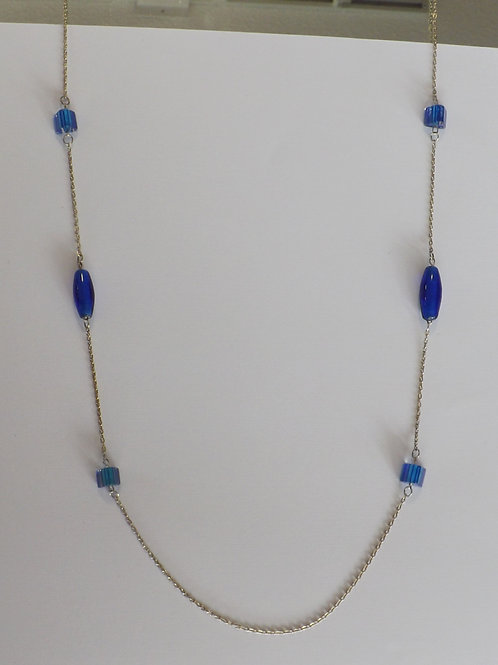 Long chain & blue glass bead necklace