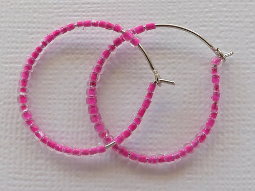 Silver hoop with seed beads