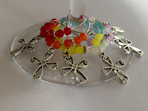 Blessings wine glass charms with cross