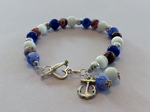 Blue & pinks beaded bracelet with silver charm