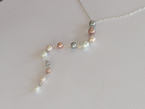 Silver chain Y necklace with glass pearl drop