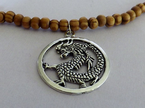 Coffee stained wood bead necklace with dragon