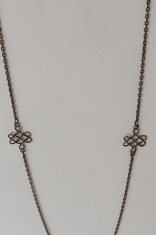 Antique bronze necklace with filegree connectors