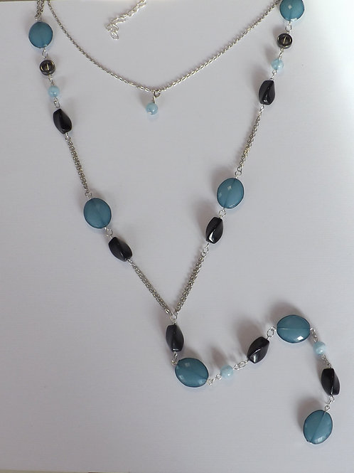 Two strand Y necklace with teal and black beads