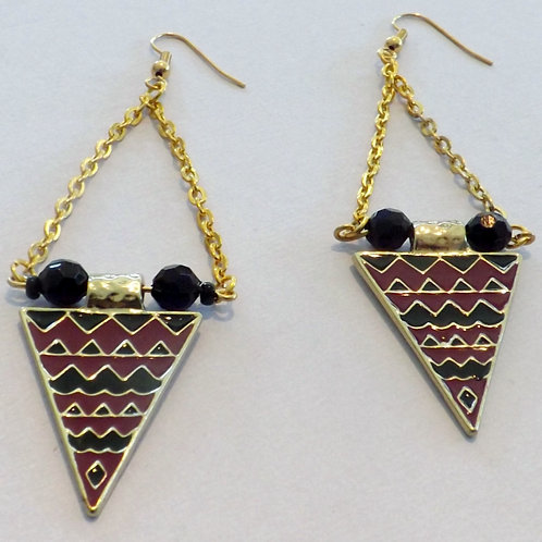 Gold hook earring with burgandy & black charm