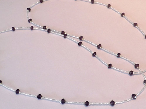 Clear bead necklace w/purple faceted beads