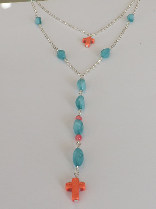 Two strand, 2 length Y style necklace teal & coral