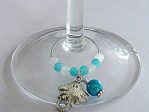 A Day at the beach Wine glass charms