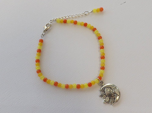 Jade style bead anklet with Tibetan silver charm