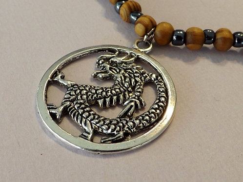 Men's beaded necklace with silver dragon charm