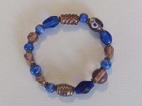 Pinks & blues glass bead stretch bracelet