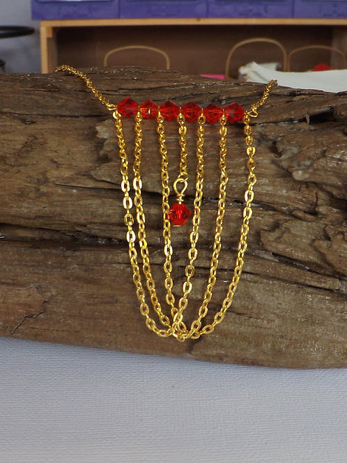 Gold chain necklace with chain & crystal bib