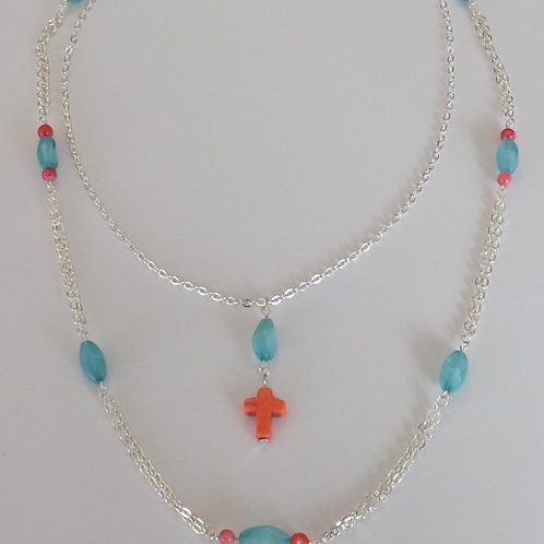 Two strand, 2 length chain necklace w/grn & coral