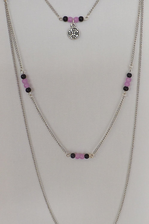 3 Strand, 3 length chain necklace w/mauve & black