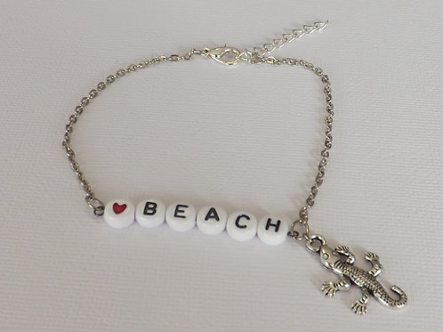 Chain anklet - BEACH with a lizard charm