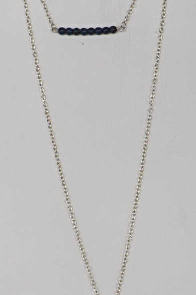 3 Strand, 3 length chain necklace with 2 charms
