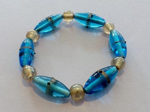 Blue & beige glass bead stretch bracelet