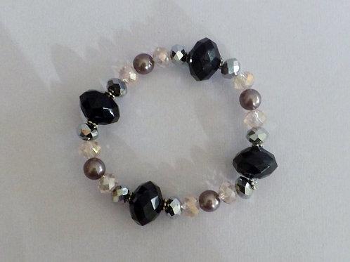 Pink & black faceted bead stretch bracelet