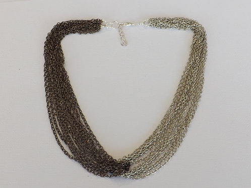 Silver & black intertwined chain necklace