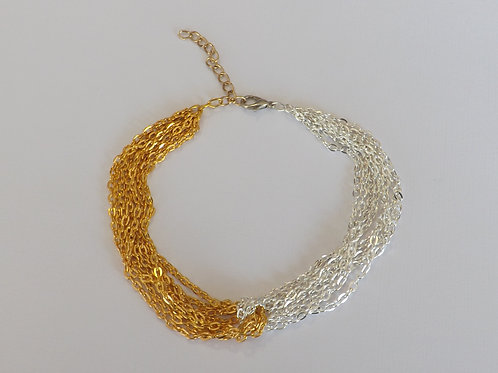 Two color intertwined chain anklet